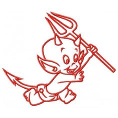 Baby Devil Teufel machine embroidery design for instant download