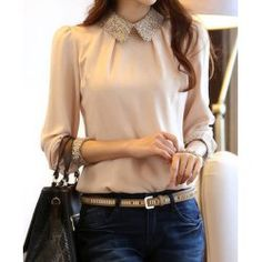 OL Style Turn-Down Collar Splicing Embellished Long Sleeves Chiffon Shirt For Women Style Work, My Style, Look Fashion, Fashion Outfits, Womens Fashion, Spring Fashion, High Fashion, Look Office, Casual Outfits