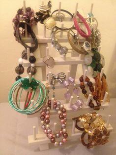 DIY Jewelry holder - repurposed thread holder from craft store