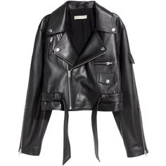 Leather Biker Jacket $349 ($349) ❤ liked on Polyvore featuring outerwear and jackets