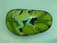Frog on leaf painted rocks ooak art object by RockArtiste Outdoor Paint, Art Object, Home Office Decor, Rock Art, Garden Art, Painted Rocks, Blue Green, Original Paintings, 3d