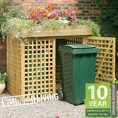 NEW WOODEN WHEELIE BIN STORE DUSTBIN STORAGE RUBBISH SCREEN