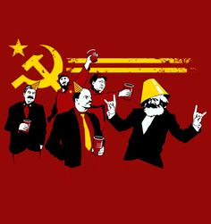 Party people of all countries, Unite! Check out some the most famous communists partying togther in this kickass design. Live it up with the commrades Marx and Vladamir, Castro, Stalin and Mao. This epic design by Tom Burns is screen perfectly screen printed on a red 100% cotton Redwolf tee. Communist Party is available now on t-shirts and accessories on Redwolf.in