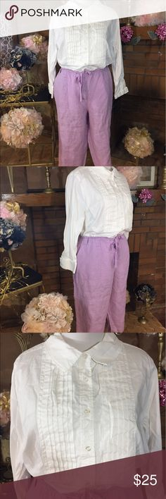 Talbots Woman lilac capri outfit Talbots Woman lilac capri, drawstring waist pants size 24W. Approx measurements are 48 inch waist and 20 inch inseam. 100% linen. Jessica London white button down shirt sz 24. Approx measurements are 56 inch circumference and 30 inches long. 97% cotton and 3% spandex. Previously owned but in good condition. Please check out all pictures. Read full description of the items. Ask me any questions. Talbots  Pants Capris