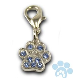 Rhinestone Bling Clip-on Paw Collar Charm Blue with Lobster Clasp *** You can get more details here : Cat accessories