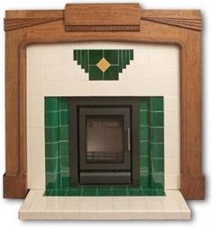 The wood mantle makes this art deco fireplace more tolerable than most, but I think of a fireplace as bringing the emotional as well as physical warmth to a living space. Boldly colored tile doesn't really communicate warmth to me. Art Deco Tiles, Art Deco Decor, Art Deco Home, Art Deco Design, 1930s Fireplace, Art Deco Fireplace, Fireplace Design, Tiled Fireplace, Vintage Fireplace