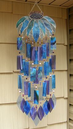 Kirk's Glass Art Stained Glass Windchime - Coneflower Wind Chime