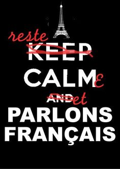 reste calme et parlons français / Eng Keep calm and speak French French Phrases, French Words, French Quotes, How To Speak French, Learn French, Core French, French Classroom, Keep Calm Quotes, Love You