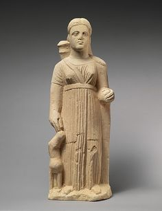 Limestone statue of the goddess Artemis. Period: Hellenistic Date: 3rd century B.C. Culture: Cypriot