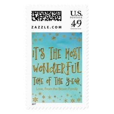 It's the Most Wonderful Time of the Year Teal Postage - foil leaf gift idea special template
