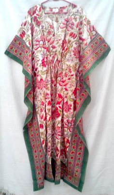Rich Red Indian Floral Boho Chic Anokhi Block print Long Cotton Kaftan Tunic One Size