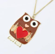 Korean colorful love owls wild long necklace (Brown)  for order queries inbox us at https://www.facebook.com/Glamourforgirls or email us at glamourous_girls@hotmail.com