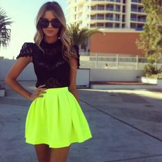 Not too crazy about the neon but I do love the outfit!