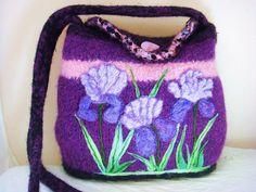 felted tote, felted purse, felted handbag, fiber art, wearable art, iris handbag, needle felt art, $175,iris,purple ,felthandbag,www.feltedfantasies.com