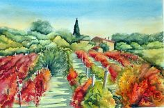 """vigne d'autunno ""acquerello 35x51 di Lorenza Pasquali Paintings www.lorenzapasquali.it Copyright © Lorenza Pasquali"