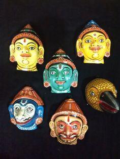 A pattachitra mask set of Ramayana family by PattachitraNet