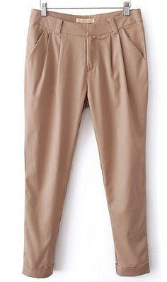 Pure color oblique pocket crimping pants khaki