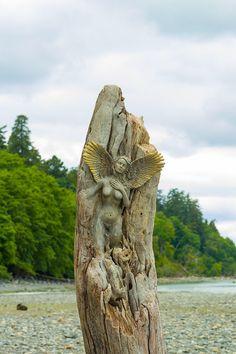 Angel of the Shores, Driftwood Sculptures by Debra Bernier