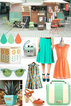 Oh So Lovely Vintage: A pop of sherbet! this needs to be my cafe in Tulum!