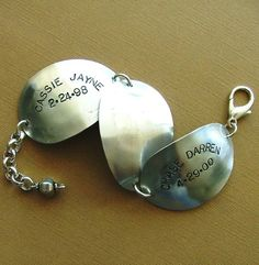 PersonaliZed Family Spoon Bowl Silverware Bracelet - Silverware Bracelet - Silverware Jewelry via Etsy