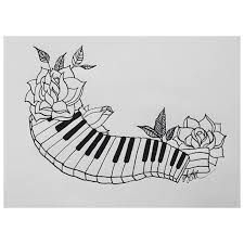 Outline Rose and Piano Keys Tattoo Design : Piano Tattoos Key Tattoo Designs, Piano Keys, Piano Bar, Designs To Draw, Drawing Designs, Drawing Ideas, Music Painting, Skin Art, Piano Tattoos