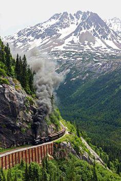 paseo en tren por las montañas de alaska