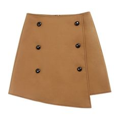 Khaki Double Breasted Placket Irregular Hem Mini Skirt ($60) ❤ liked on Polyvore featuring skirts, mini skirts, brown skirt, short khaki skirt, brown mini skirt, short skirts and khaki skirt