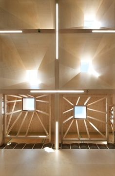 A total of 56 skylights are installed with a side length of four meters and a depth of three meters, which are inclined at different angles and offset to each other. In this way they make optimum use of direct light irradiation and provide the entire playing field with uniform daylight. #ceiling #sporthall #daylight #light #timber #construction #architecture Halle, Timber Architecture, Sport Hall, Skylights, Secondary School, Angles, Ceiling, Construction, Upper Elementary