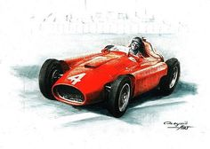 1956 Lancia Ferrari D50  Juan Manuel Fangio  Ferrari F1 collection ART by Artem Oleynik. This collection demonstrating Ferrari F1 racing cars since 1950 to 2016 and includes 96 pictures in oil on canvas. The size of each original picture is 25 x 35 cm.