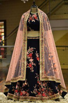 Buy Dark Blue Resham Embroidered Velvet Bridal Lehenga Online