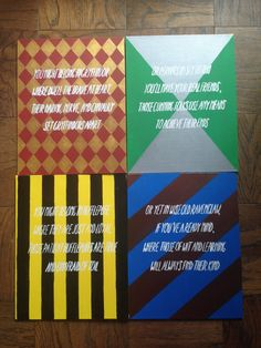 Harry Potter Houses Canvas Set – for sale on Etsy - DIY projects Baby Harry Potter, Harry Potter Canvas, Harry Potter Thema, Deco Harry Potter, Harry Potter Painting, Harry Potter Nursery, Harry Potter Classroom, Theme Harry Potter, Slytherin