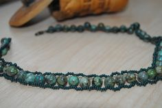 Jasper Necklace Green seed beads Healing stone Dainty by NioNia