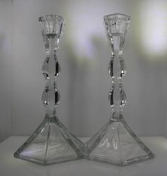 Lead Crystal Candle Holder Set - Made in USA - Clear Candlesticks - Undulating Design by StepBackAntiques on Etsy