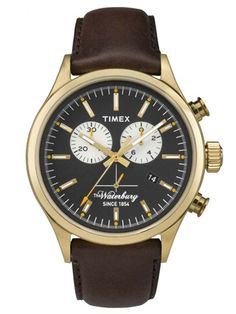 Timex Waterbury Chronograph Watch with Leather Strap - Gold/Black/Brown : Target Best Watches For Men, Luxury Watches For Men, Cool Watches, Timex Watches, Seiko Watches, Army Watches, Sport Watches, Wrist Watches, Men's Watches