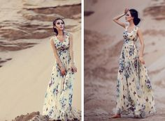 Ladies V -neck chiffon dress vest, skirt big skirt floral dress women