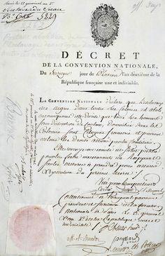 Décret d'abolition de l'esclavage, 16 pluviôse an II / 4 février 1794.