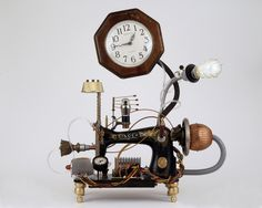 LOVE LOVE LOVE This!! Steampunk found object clock assemblage-Vintage Singer sewing machine. $475.00, via Etsy.