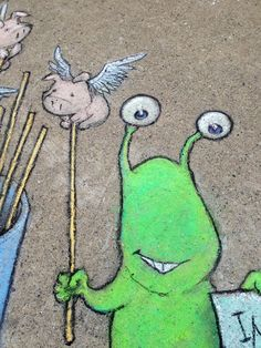 Now there's a couple of weird wunderkins! - David Zinn chalk artist