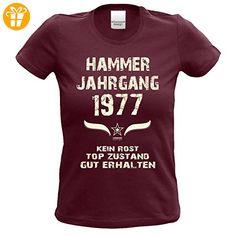 Modisches 44. Jahre Girlie Damen-Oberteil zum Geburtstag Hammer Jahrgang 1973 Farbe: burgund Gr: S (*Partner-Link)