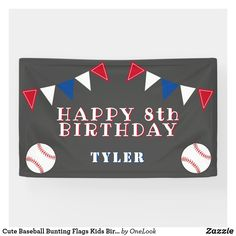 Cute Baseball Bunting Flags Kids Birthday Party Banner
