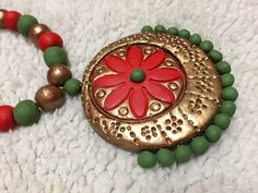 Terracotta jewelry handmade - red and green Lon necklace and jhumki