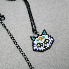 Sugar Skull Cat Beaded Necklace