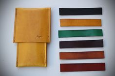 Yellow or green leather Pen Case, Handmade, original desing Ludena, the top leather, Fits 4 Pens.