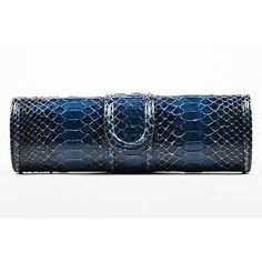 Pre-Owned Giorgio Armani Navy Blue Python Structured Clutch ($185) ❤ liked on Polyvore featuring bags, handbags, clutches, blue, structured handbags, navy handbags, navy blue handbags, preowned handbags and navy blue purses