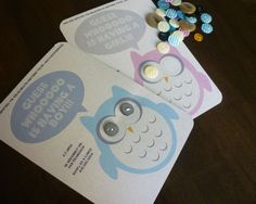 Cute As a Button Babyshower Owl Invitations  Set of 10 by Aimes88, $18.00