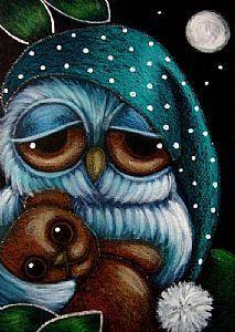 Detail Image for art SLEEPY OWL with TEDDY BEAR