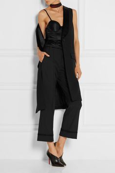 Black stretch-wool Concealed button, hook and zip fastening at front 97% wool, 3% elastane; trim: 100% silk; lining: 65% polyester, 35% cotton Dry clean Imported