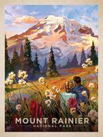 Mount Rainier National Park Карта Поп Плакат Классический Урожай Ретро Крафт…