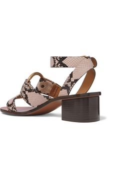 Chloé - Rony embellished snake-effect leather sandals Spring Sandals, Gold Hoops, Snake Print, Cropped Jeans, Leather Sandals, Block Heels, Ankle Strap, Shopping Bag, Calves