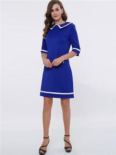 Robe de Jour Bleu A-line Manches à Moitiés Col Claudine